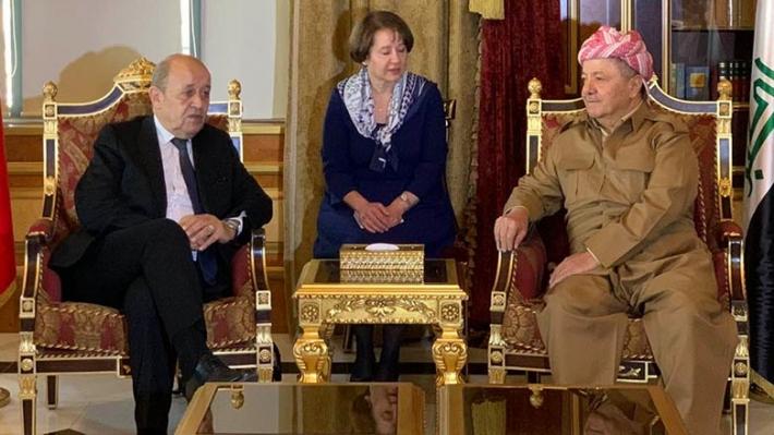 Başkan Barzani, Fransa Dışişleri Bakanı'nı kabul etti
