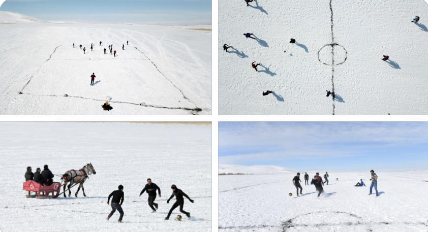 Buzun üstünde iç ısıtan futbol keyfi