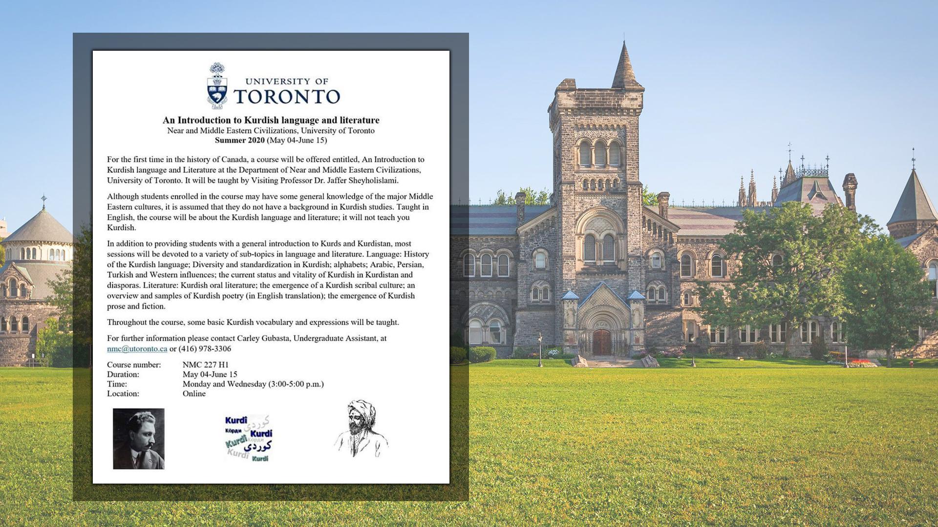 Toronto Üniversitesi, Kürt Dili ve Edebiyatını müfredata aldı
