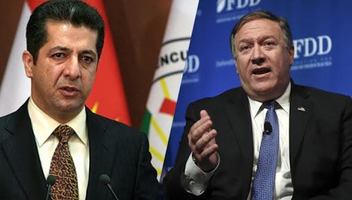 Barzani ve Pompoe'dan telefonda görüşmesi